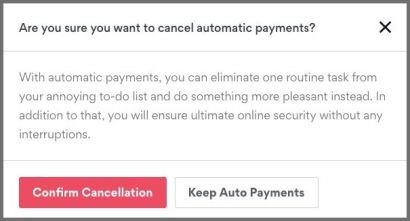 Automatische Zahlung abbrechen