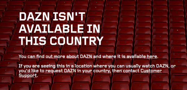 DAZN Outside the US