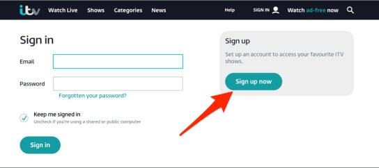 ITV Sign Up